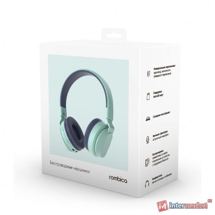 Bluetooth гарнитура Rombica MySound BH-16, 20Hz-20kHz, 32 Om, 102 dB, BT 5.0, FM, microSD, 1.4m,Blue