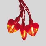 Гирлянда 2м красная Сердечки кабель красный 0,5м на батарейках АА 20диодов LED indoor