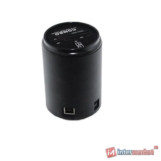 Концентратор USB Combo, MS/SD/MMC/xD/T-flash, USB 2.0/1.1, black